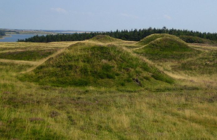 Peat burial mounds from the Bronze Age more than 3,000 years old. Ydby Hede, Northwest Jutland. Credit: Public Domain.